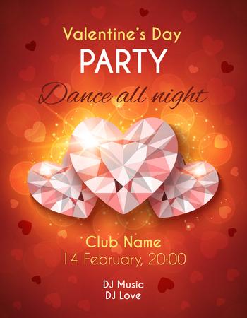 shiny hearts: Valentines Day Party Flyer. Vector design with shiny diamond hearts