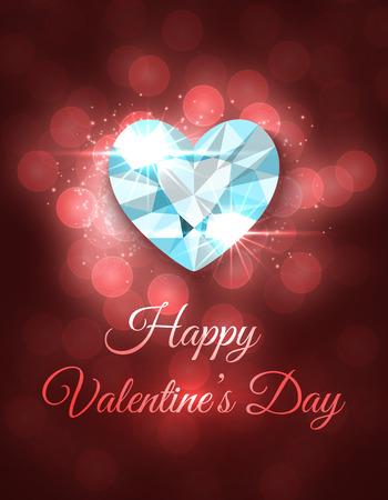 coeur diamant: Carte de voeux Saint Valentin. Vector design avec le coeur de diamant brillant