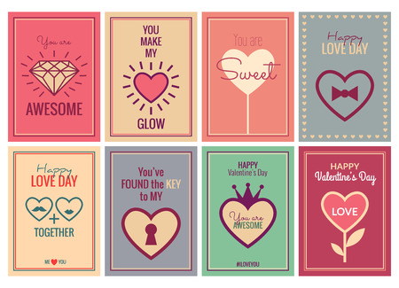 symbols: Happy Valentines Day or Wedding Cards Set. Vector retro art posters with romantic and expressing emotions phrases