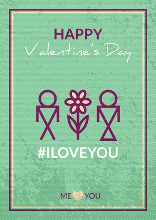 i love you symbol: Happy Valentines Day Card. Romantic vector retro design with couple symbol. I love you