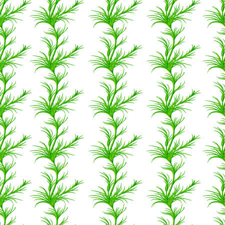 fennel: Seamless pattern with sprigs of greenery, dill or fennel. Vector repeating background. Wallpaper with herb food ingredients, green organic spice Illustration