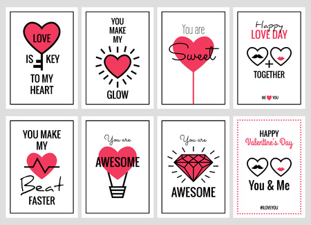 phrases: Happy Valentines Day or Wedding Cards Set. Vector retro art posters with romantic and expressing emotions phrases