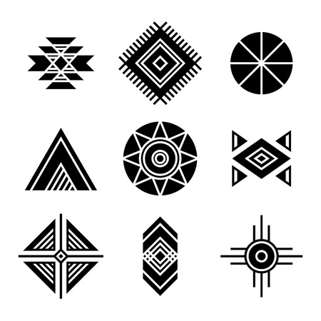 Native American Indians Tribal Symbols Set. Geometric shapes icons isolated on white Ilustração