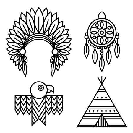 Native American Indians Icons Set Linear Style. Tribal symbols isolated on white for design logo or ethnic prints and other Illustration
