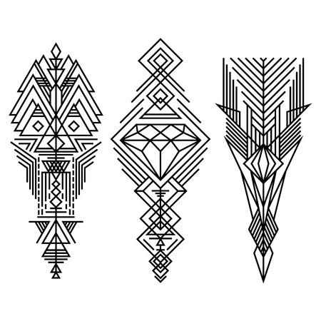 Geometrische lineaire trendy hipster elementen collectie. Religie, filosofie, spiritualiteit, occultisme symbolen. Op wit wordt geïsoleerd Stock Illustratie
