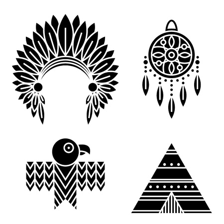 Native American Indians Icons Set. Tribal symbols isolated on white. Black silhouettes