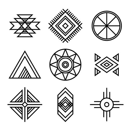 Native American Indians Tribal Symbols Set. Linear Style. Geometric icons isolated on white