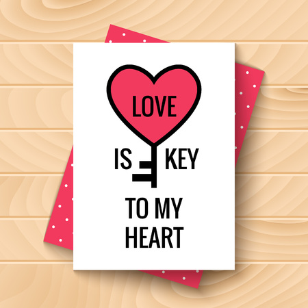 expressing: Happy Valentines Day Card on wooden background. Love is Key to My Heart. Vector festive design with romantic and expressing emotions phrase