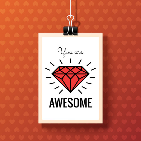 Happy Valentines Day Poster. White hanging paper sheet on red background. You are Awesome. Vector festive design with romantic and expressing emotions phrase