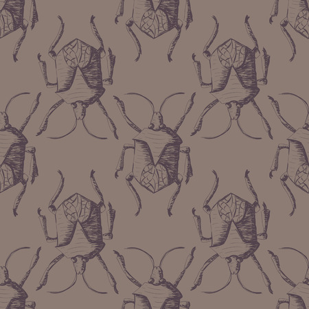 entomology: Hand drawn Sketch Beetles Seamless Pattern. Art wallpaper with insects for prints or other creative design. Vintage style background