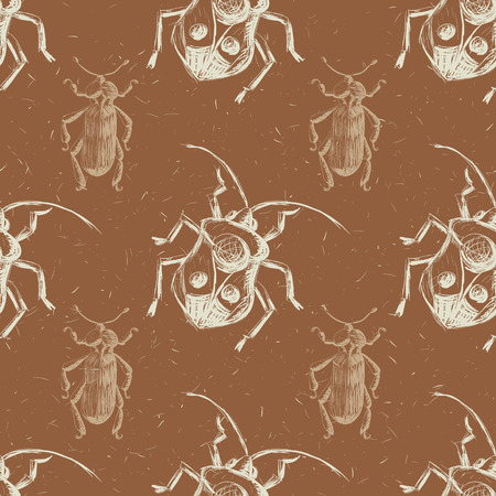 beetles: Hand drawn Sketch Beetles Seamless Pattern. Art wallpaper with insects for prints or other creative design. Vintage style background