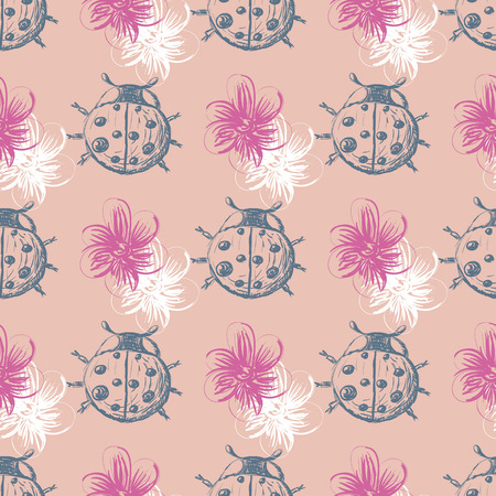 lady beetle: Hand drawn Sketch Beetles Seamless Pattern. Art wallpaper with insects for prints or other creative design. Vintage style background