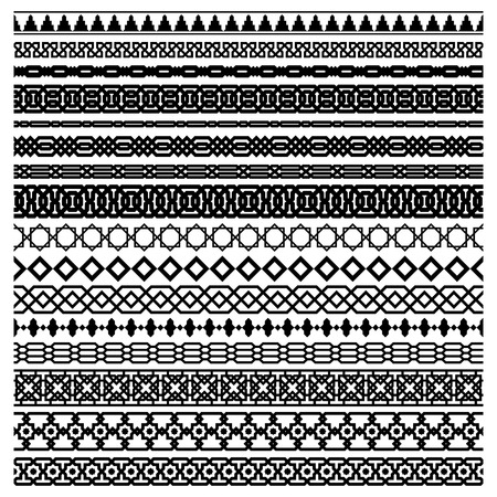 horizontally: Islamic seamles vector line border set. Geometric repeated horizontally ornament for frame design