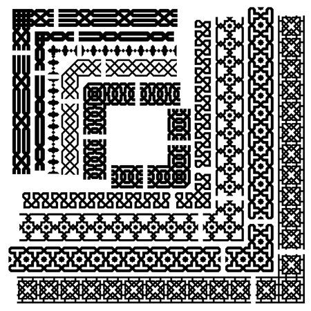Islamitische seamles vector lijn en hoek grens set. Geometrisch het herhalen ornament Vector Illustratie