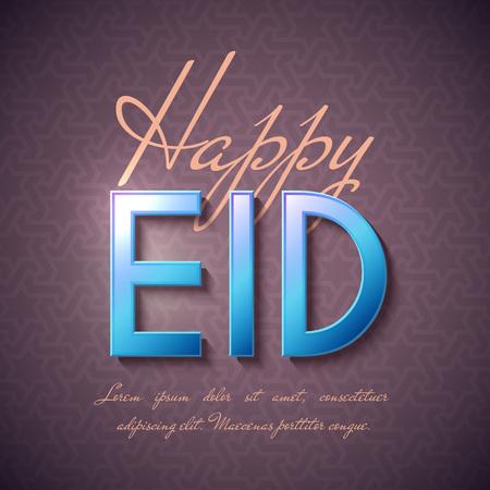 Happy Eid Islamic Greeting Background. Vector festive design
