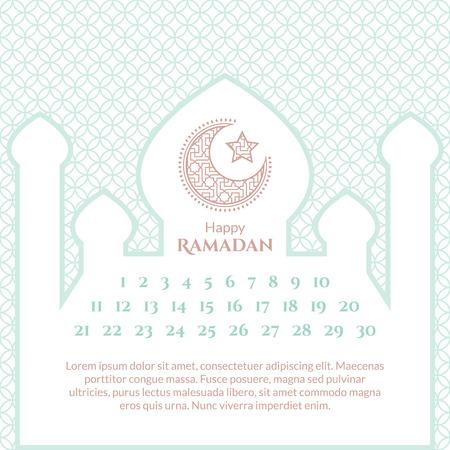 Ramadan Kalender Vorlage. Islamische Gruß Hintergrund Mit Moschee ...