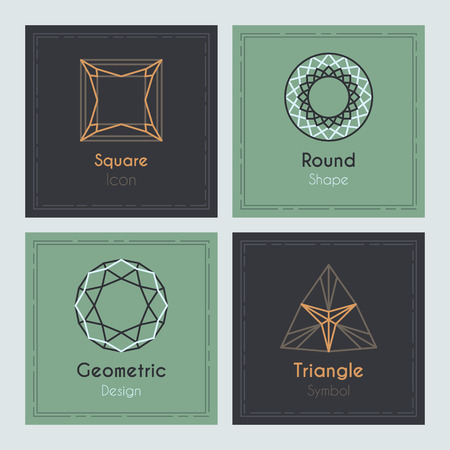 diamond stones: Trendy Cards with geometric symbols. Precious diamond stones and crystals. Illustration
