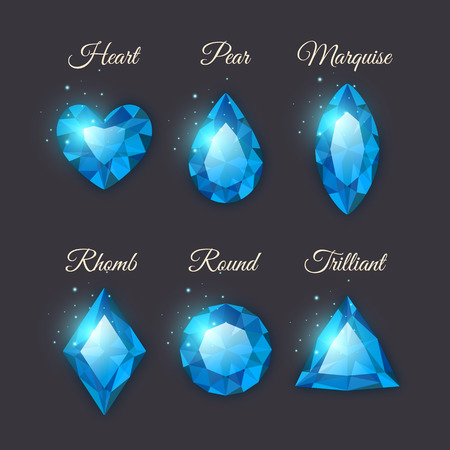 Colorful shiny gemstones collection. Set of vector diamond icons with sparkles. Heart, marquise, round, triangle,pear and rhomb shapes