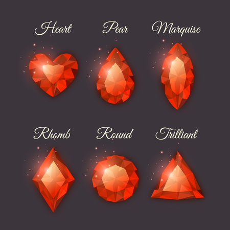 marquise: Colorful shiny gemstones collection. Set of vector diamond icons with sparkles. Heart, marquise, round, triangle,pear and rhomb shapes