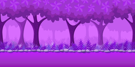 horizontally: Forest Game Background for 2d game application. Vector design. Tileable horizontally. Size 1024x512. Ready for parallax effect