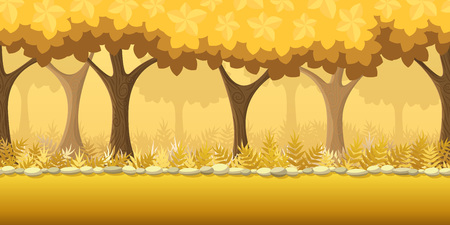 horizontally: Forest Game Background for game application. Vector design tileable horizontally with parallax effect Illustration