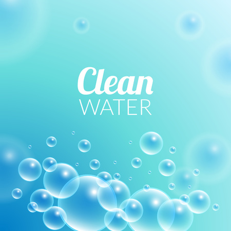 purified: Clean Purified Water Vector Background. Transparent floating up bubbles freshness background. Blurred summer wallpaper with shining bubbles