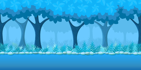 Forest Game Background for game application. Vector design tileable horizontally with parallax effect Illustration