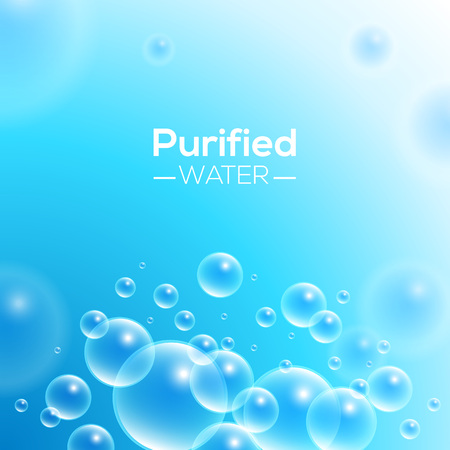 purified water: Clean Purified Water Vector Background. Transparent floating up bubbles freshness background. Blurred summer wallpaper with shining bubbles