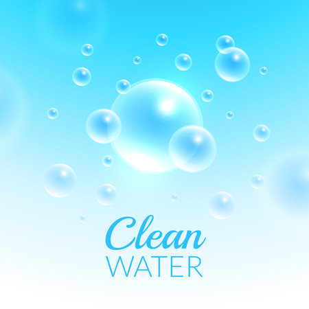 Clean Purified Water Vector Background. Transparent floating up bubbles freshness background. Blurred summer wallpaper with shining bubbles