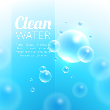 floating in water: Clean Purified Water Vector Background. Transparent floating up bubbles freshness background. Blurred summer wallpaper with shining bubbles