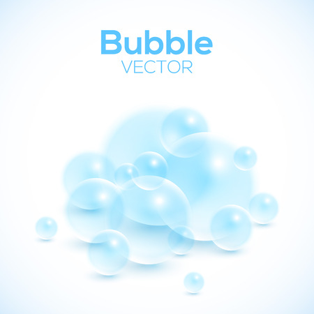 Transparente Blasen auf weiß Vektor-Hintergrund. Lather Seifenblasen