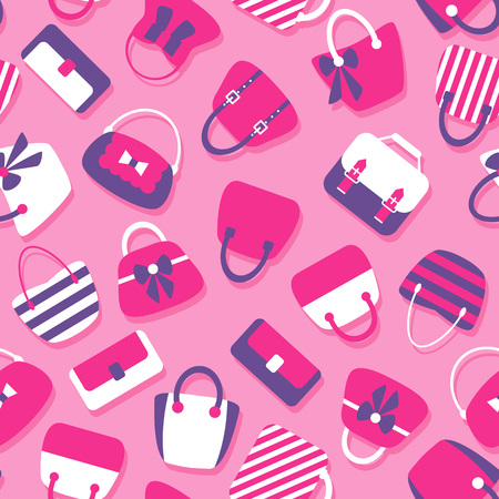 fashion accessories: Woman Bags Seamless Pattern. Tiled vector background with women handbag fashion accessories Illustration