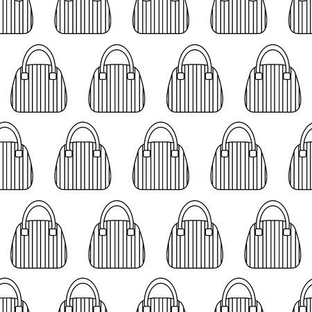 fashion accessories: Woman Bags Seamless Pattern. Tiled vector background with women handbag fashion accessories. Simple contour striped bags on white Illustration