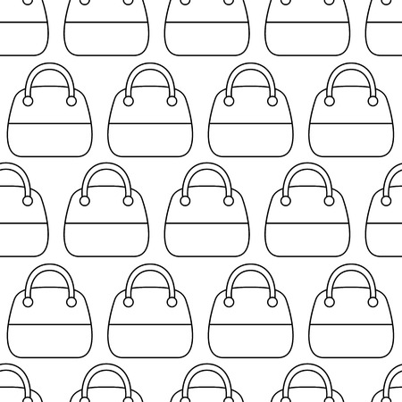 fashion accessories: Woman Bags Seamless Pattern. Tiled vector background with women handbag fashion accessories. Simple contour bags on white Illustration