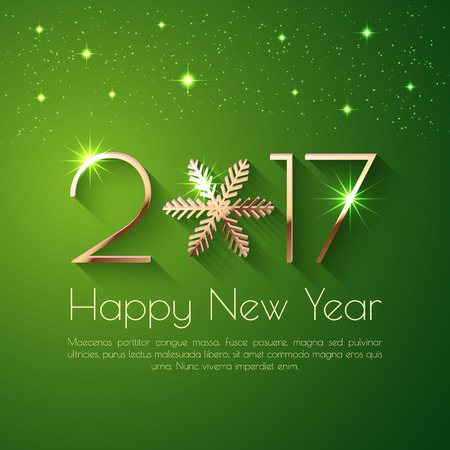 Happy New Year 2017 text design. Vector greeting illustration with golden numbers and snowflake Vectores