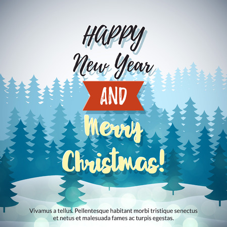 snow mountains: Merry Christmas Winter Forest Background with trees, snow mountains. Vector holiday design Illustration