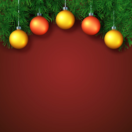 Christmas or New Year Background with place for text. Vector template with pine brunches and christmas balls