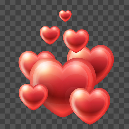 Group of Glossy Hearts flying up. Vector icon. Love symbol. Valentines Day or Wedding sign suitable for any color backgrounds Illustration
