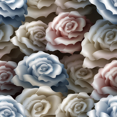 Seamless Pattern with Roses. Vector nature illustration Illustration