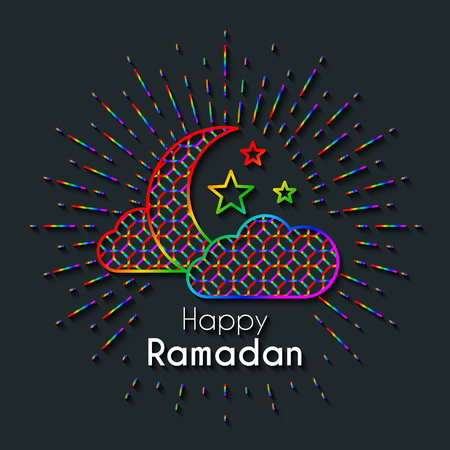 Rainbow Greeting Card for celebration of Holy Month Ramadan Kareem. Dark vector line art background with cresent, clouds and stars