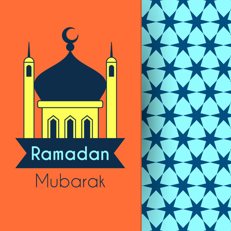 Greeting Card for Holy Month Ramadan Kareem. Vector background with mosque and stars pattern