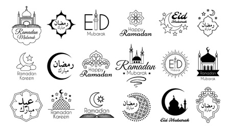 Islamic Emblems Set for Ramadan Kareem celebration. Vector logo collection isolated on white