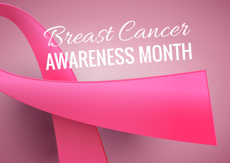 Breast Cancer Awareness Month Poster. Vector october background with pink ribbon