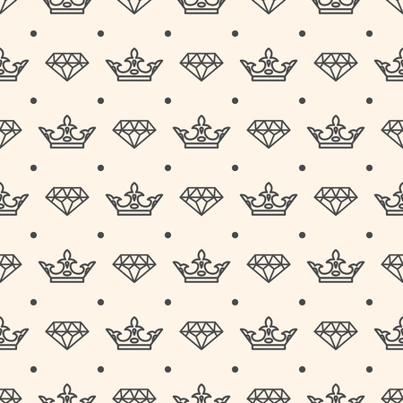 Seamless Pattern With Crown And Diamond Symbols For Wedding Card