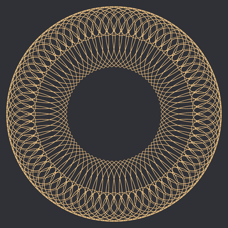 spirograph: Round Guilloche Pattern for certificate, diploma or voucher design. Vector abstract colored circle frame on dark background