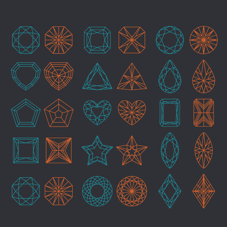 Diamond Shapes Set. Vector geometric icons of gemstone cut