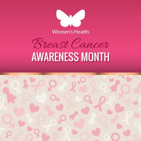 Breast Cancer Awareness Month Poster. Vector pink october background