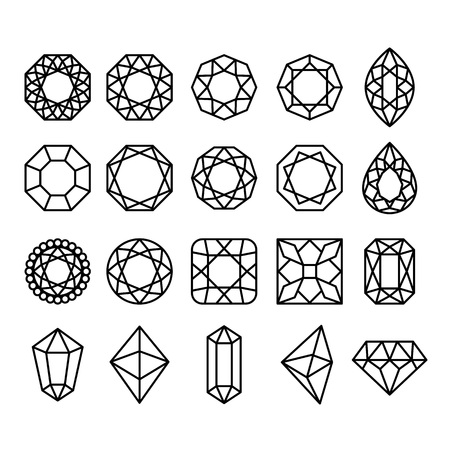 Diamond Shapes Set. Vector geometric icons of gemstone and crystal cut isolated on white background Vettoriali