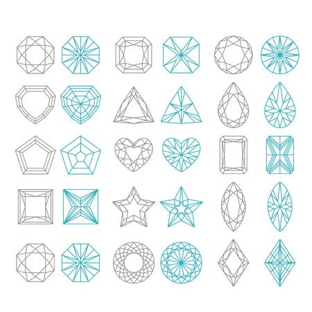 Diamant-Formen-Set. Vector geometrische Ikonen des Edelsteinschnittes, der auf weißem Hintergrund lokalisiert wird Standard-Bild - 81450358