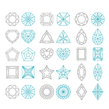 Diamond Shapes Set. Vector geometric icons of gemstone cut isolated on white background Stock fotó - 81450358